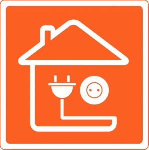 12489616 - red icon with house silhouette and socket with plug
